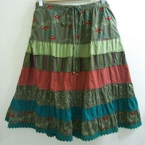 Lane Bryant Venezia Skirt Olive Green Print 26/28